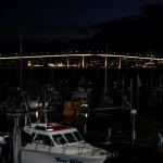 Bron över Derwent River i strålkastarsken